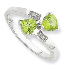 Sterling Silver Rhodium Peridot and Diamond Heart Ring