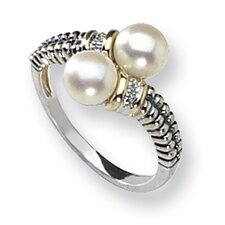 Sterling Silver With 14k Diamond and Cultured Pearl Ring
