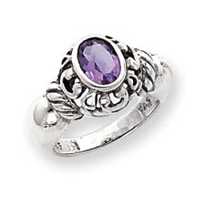 Sterling Silver Oval Cut Amethyst Ring