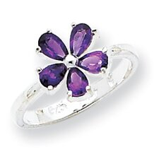 Sterling Silver Pear Cut Amethyst Ring