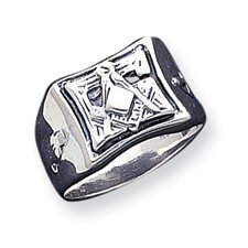 <strong>Jewelryweb</strong> Sterling Silver Antiqued Masonic Ring