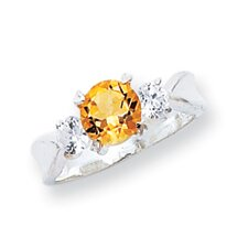 Sterling Silver Round Cut Citrine Halo Ring