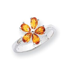<strong>Jewelryweb</strong> Sterling Silver Pear Cut Citrine Ring