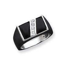 <strong>Jewelryweb</strong> Mens Sterling Silver Rectangular Cut Cubic Zirconia and Onyx Ring