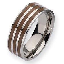 Titanium Brown Enamel Flat 8mm Polished Band Ring