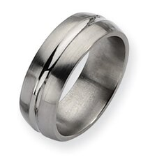 <strong>Jewelryweb</strong> Titanium Grooved 8mm Brushed Polished Band Ring