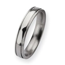 <strong>Jewelryweb</strong> Titanium Grooved and Beaded 4mm Polished Band Ring