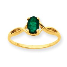 10k Polished Genuine Emerald Birthstone Ring