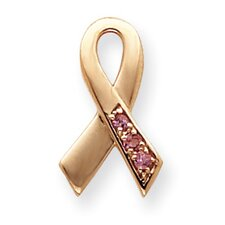 14k Rose Gold Pink Tourmaline Awareness Ribbon Slide