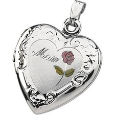<strong>Jewelryweb</strong> Ste. Silver Tri Color Mom Heart Shaped Locket