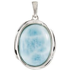 Sterling Silver Genuine Larimar Pendant16x12mm