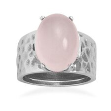 Sterling Silver Oval Cut Rose Quartz Ring