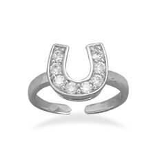 Horseshoe Cubic Zirconia Adjustable Toe Ring