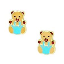 Teddy Bear Enamel Stud Earrings