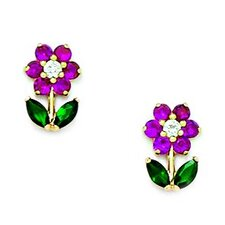 <strong>Jewelryweb</strong> Flower With Leaves Cubic Zirconia Stud Earrings