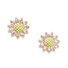 <strong>Jewelryweb</strong> Sunflower Cubic Zirconia Stud Earrings