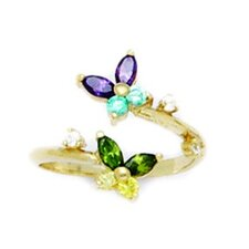 <strong>Jewelryweb</strong> 14k Yellow Gold 2 Butterflies Cubic Zirconia Adjustable Toe Ring