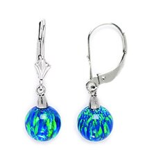 Created Ball Opal Drop Earrings