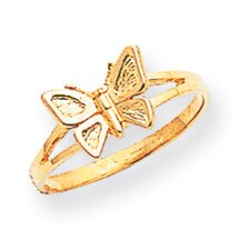 <strong>Jewelryweb</strong> 14k Yellow Gold Butterfly Children Ring