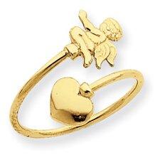 14k Yellow Gold Cupid Toe Ring