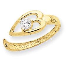 14k Yellow Gold Heart Cubic Zirconia Toe Ring