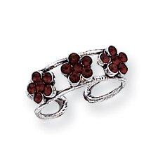 Sterling Silver Floral Crystal Solid Toe Ring