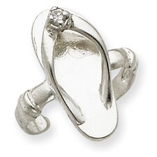 Sterling Silver Sandal Cubic Zirconia Solid Toe Ring