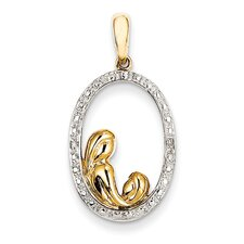 <strong>Jewelryweb</strong> 14k Yellow Gold Rough Diamond Mother and Child Pendant