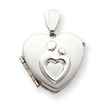 14k White Gold Heart Family Mother and Child Locket