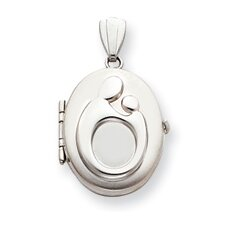 14k White Gold Oval Family Mother and Child Locket
