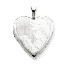 14k White Gold Mother and Child Heart Locket