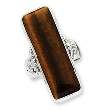 Sterling Silver Rectangle Tiger Eye Ring