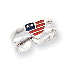 Sterling Silver Flag Heart Solid Toe Ring