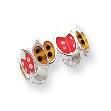 Sterling Silver Ladybug Solid Toe Ring