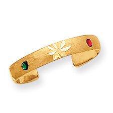 14k Yellow Gold Diamond Cut Toe Ring