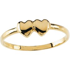 14k Yellow Gold Double Heart Childrens Ring