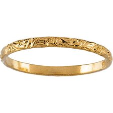 14k Yellow Gold Etched Childrens Ring