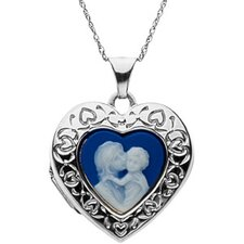 Sterling Silver Heart Cameo Locket with Mother Holding her Child