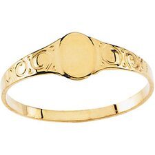 14k Yellow Gold Oval Signet Childrens Ring