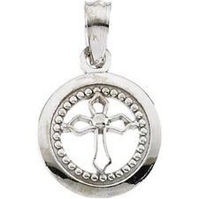14k White Gold Child Round Disc Cross Pendant