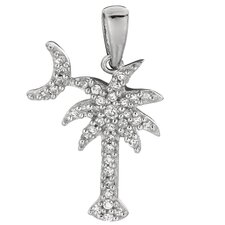 <strong>Jewelryweb</strong> Cubic Zirconia Palm Tree Charm with Moon