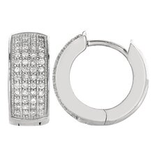 <strong>Jewelryweb</strong> Fancy Cubic Zirconia Hinged Earrings