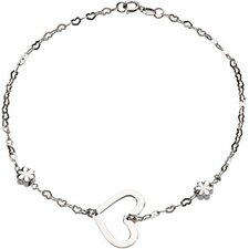<strong>Jewelryweb</strong> Heart and Flowers Anklet Bracelet