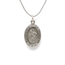Sterling Silver St. Christopher Medal PendantWith Out Chain 17x11mmMedal Only