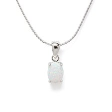 Sterling Silver Opal Pendant and Earrings Set