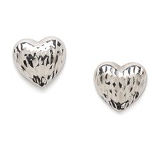 14k White Gold Diamond-Cut Heart Earrings