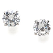 14k White Gold 6mm Round CZ Screwback Earrings