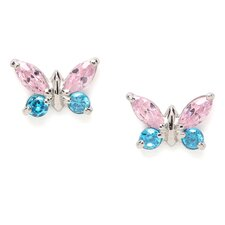14k White Gold Pink and Blue CZ Butterfly Screwback Earrings