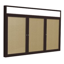 3-Door Aluminum Frame Enclosed Bulletin Board with Headliner - Natural Cork