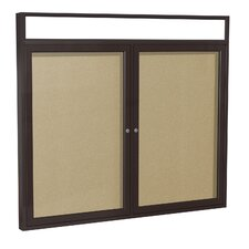 Illuminated Headliner 2-Door Enclosed Tackboard with Natural Cork
